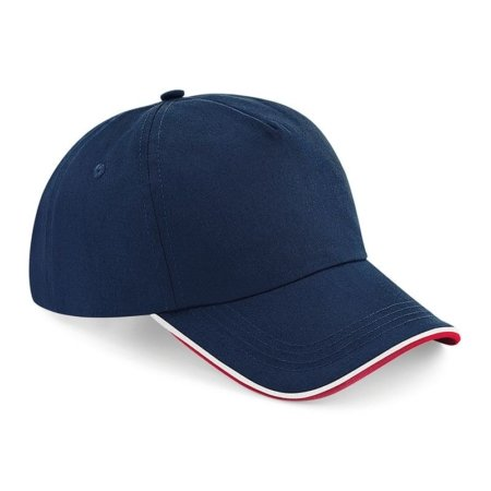 BC25C navy and red 450x450 - Beechfield Authentic 5-panel cap - piped peak