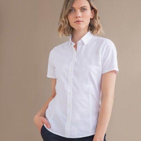 Henbury Women's modern short sleeve Oxford shirt