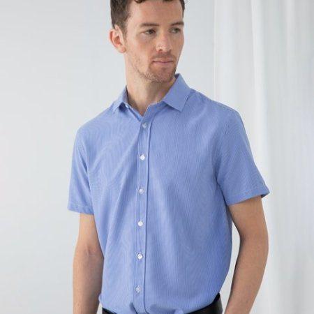Gingham Pufy wicking short sleeve shirt