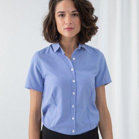Women's gingham Pufy wicking short sleeve shirt