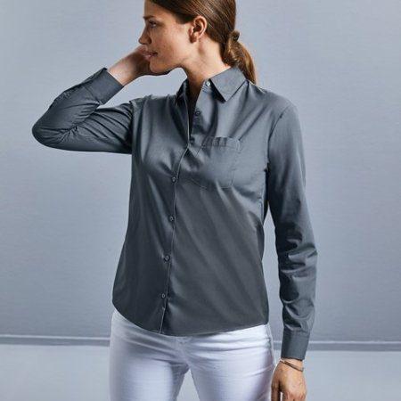 Women's long sleeve polycotton easycare poplin shirt