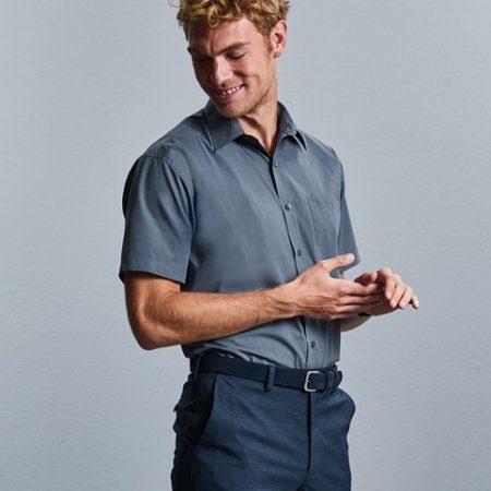Short sleeve polycotton easycare poplin shirt